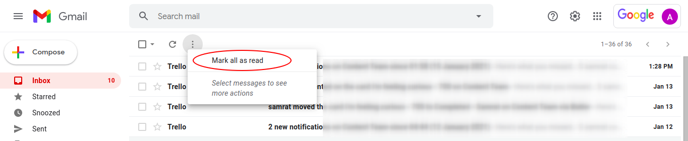 steps to mark all emails as read in Gmail