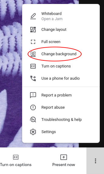 how to put a background on google meet