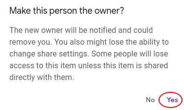 owner of Google Drive folder