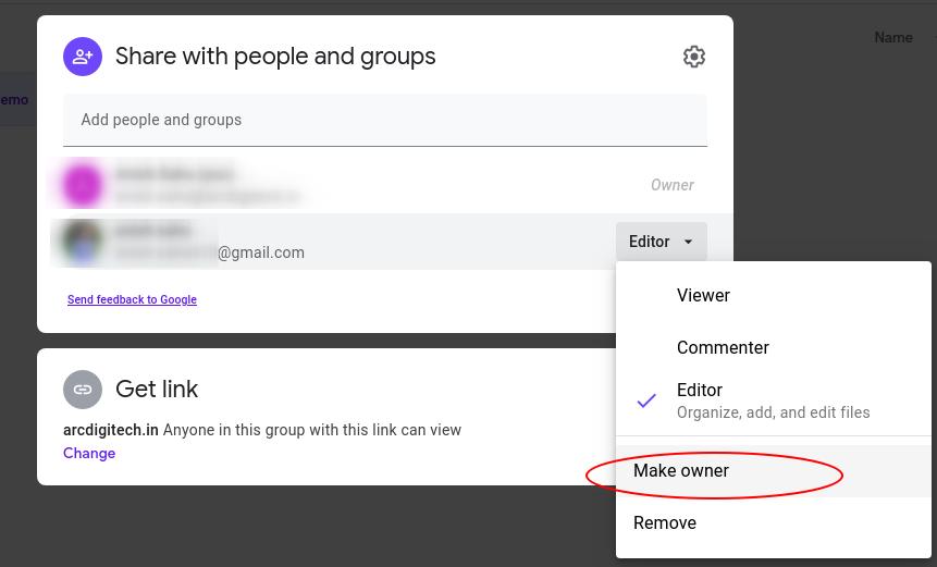 ownership transfer of Google Drive folder