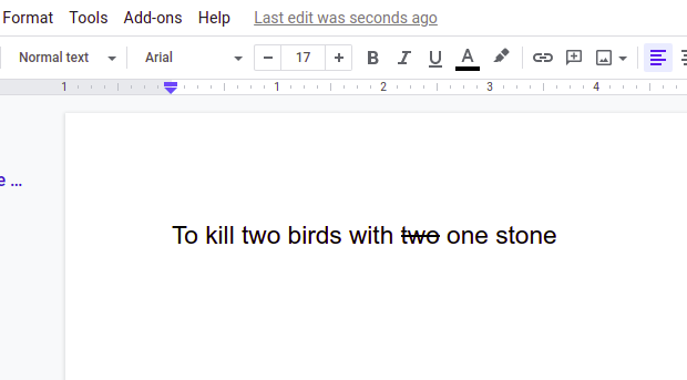 how to put a line through text in google docs