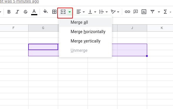 merge cells in Google Sheets