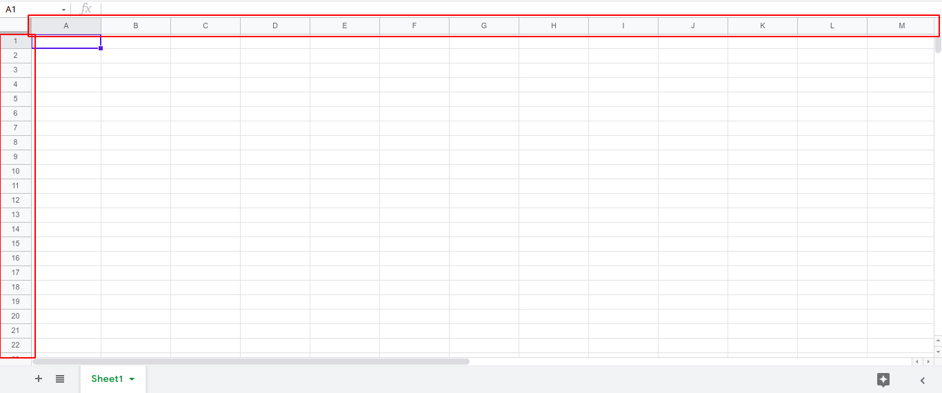 Steps to change the size of the cells in Google Sheets
