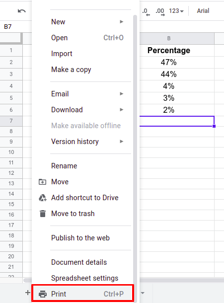 Steps to set print area in Google sheets