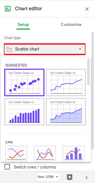 How to make a scatter plot in google sheets