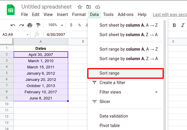 Steps to sort by date in Google Sheets