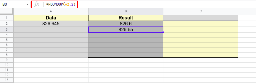 How to round in google sheets