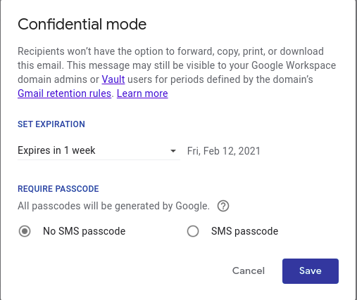 Steps to use Gmail confidential mode