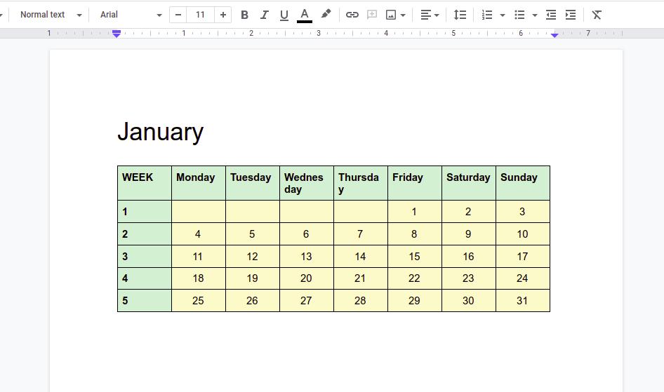 How to Create a Calendar in Google Docs