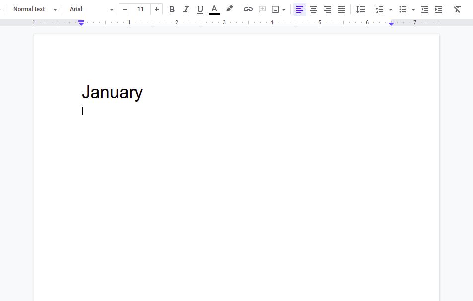 Steps  to Create a Calendar in Google Docs