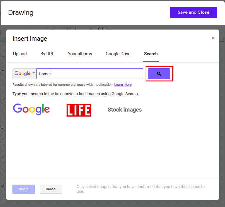how to insert border in google docs