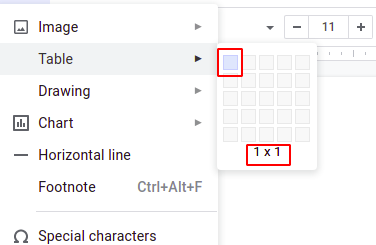 Steps to add a border in Google Docs