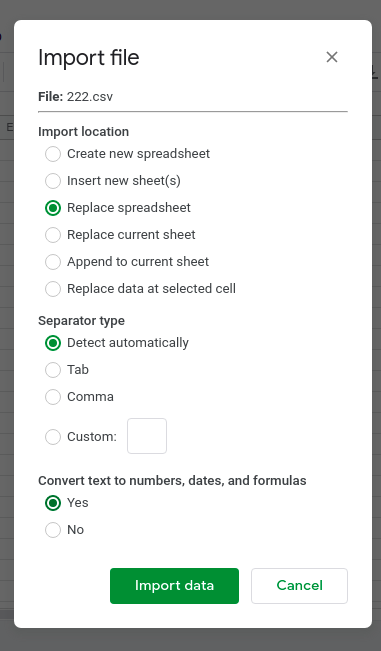 Steps to open CSV file in Google Sheets