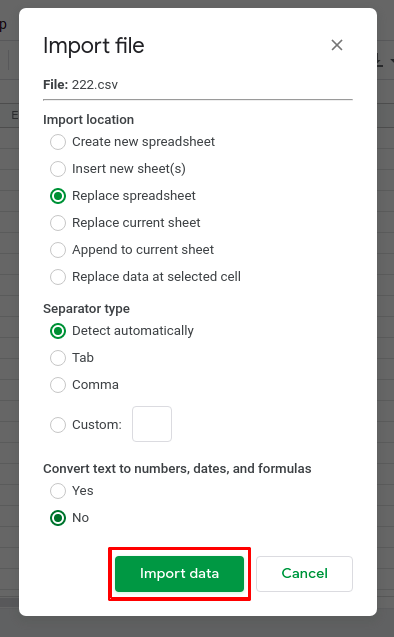 How to open CSV file in Google Sheets